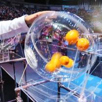 Лототрон со сферическим барабаном объемом 40 литров и с автоматическим выбросом шара диаметром 6 см