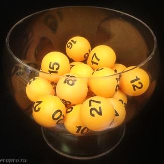 Желто-оранжевые шарики для лототрона с черными номерами, шары d4, диаметр 4 см